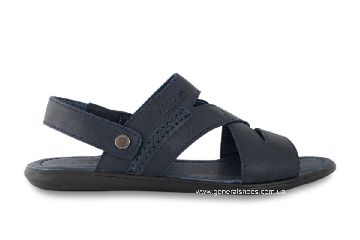 Кожаные мужские сандалии Falcon 2515 синие фото 7
