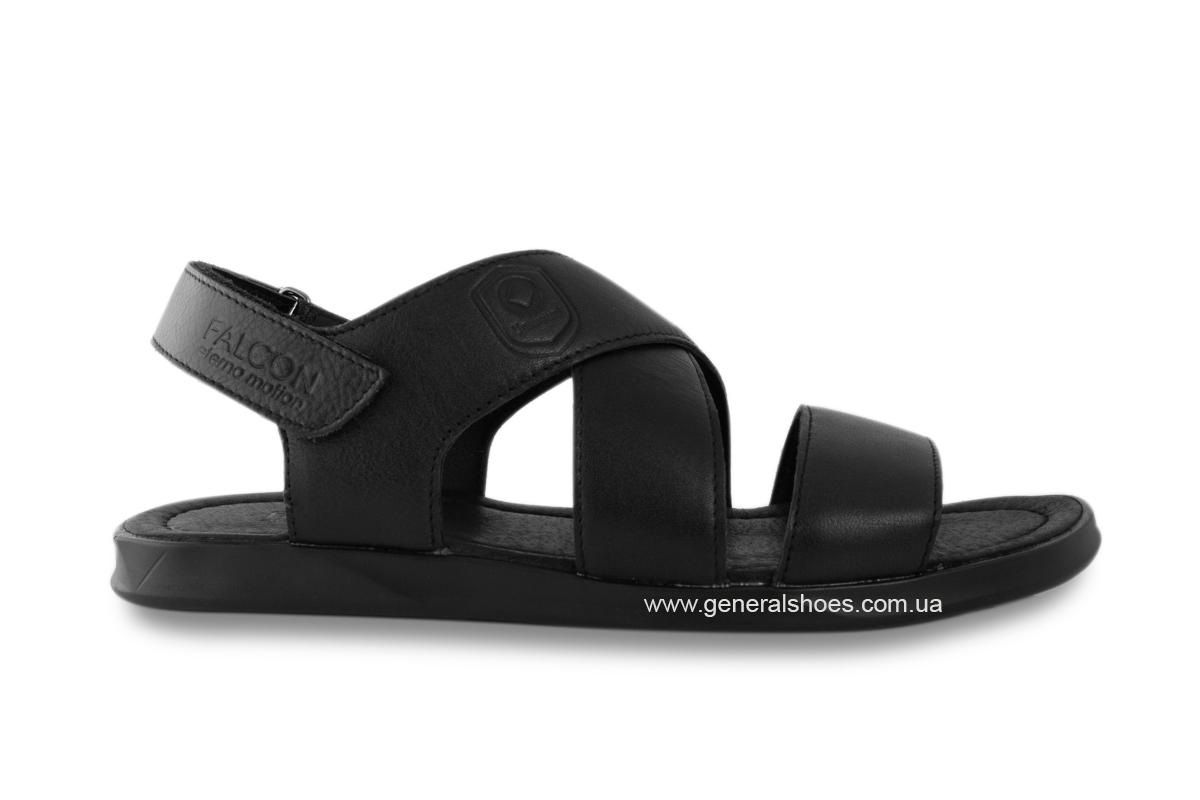 Мужские кожаные сандалии Falcon 1019 черные фото 2