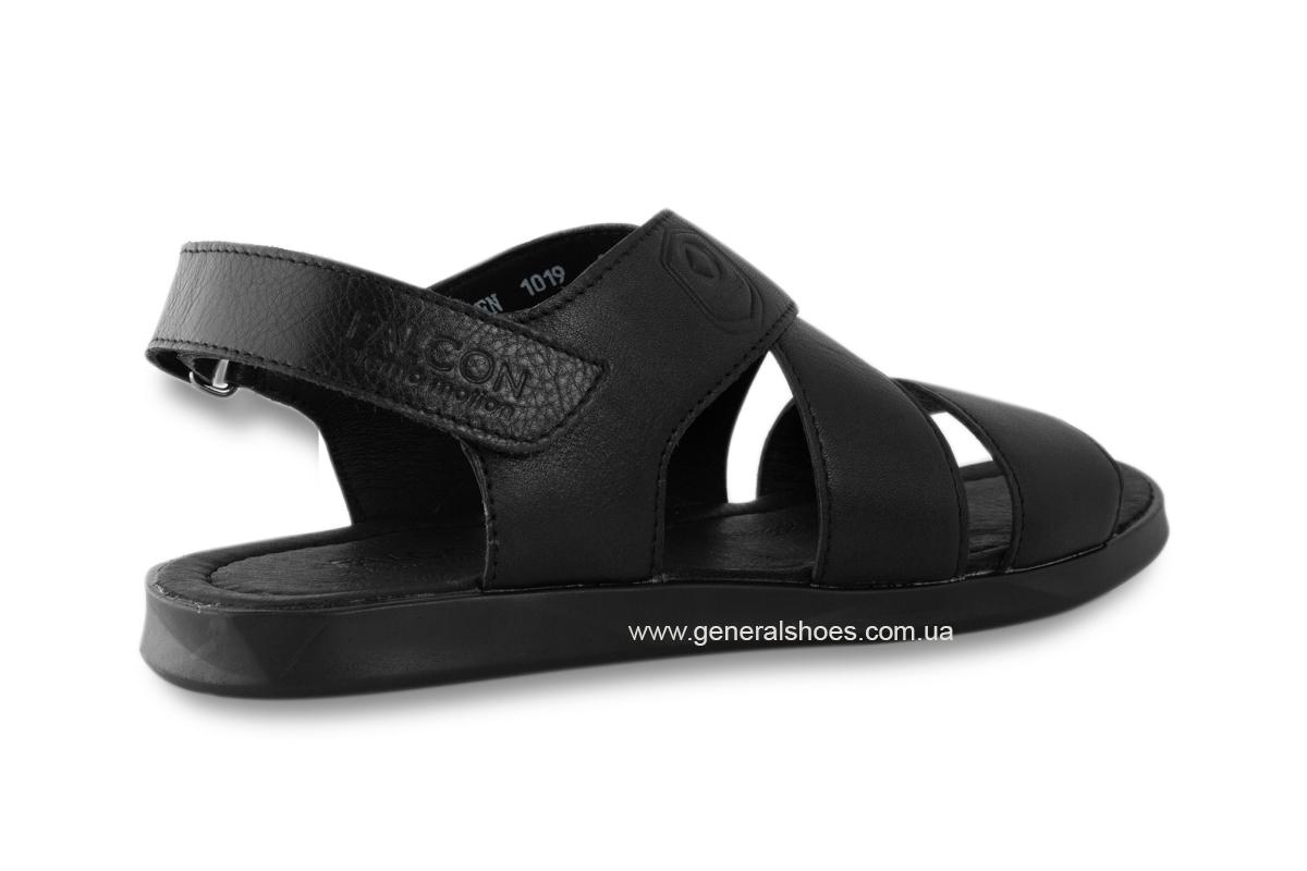 Мужские кожаные сандалии Falcon 1019 черные фото 3