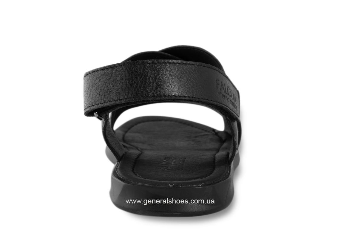 Мужские кожаные сандалии Falcon 1019 черные фото 4