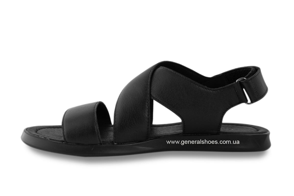 Мужские кожаные сандалии Falcon 1019 черные фото 5