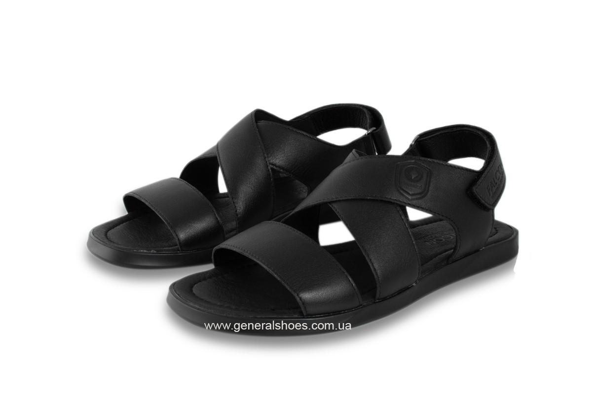 Мужские кожаные сандалии Falcon 1019 черные фото 7