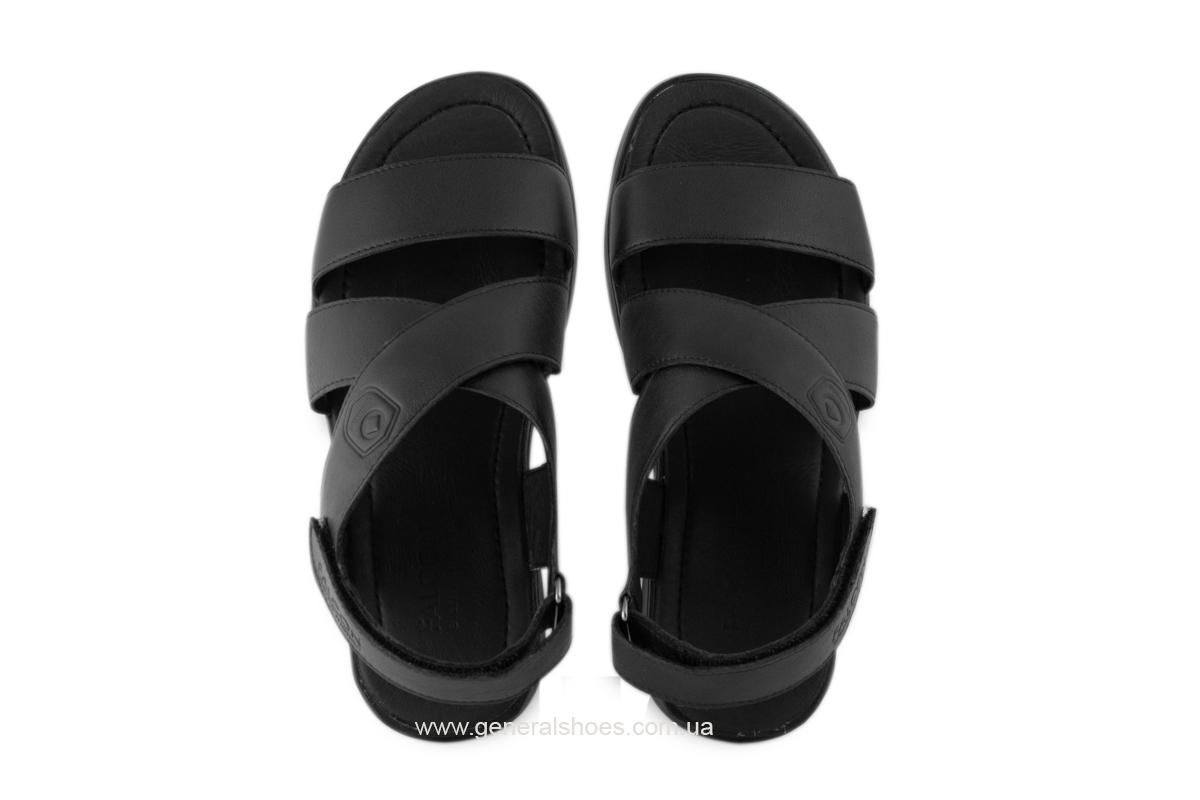 Мужские кожаные сандалии Falcon 1019 черные фото 8