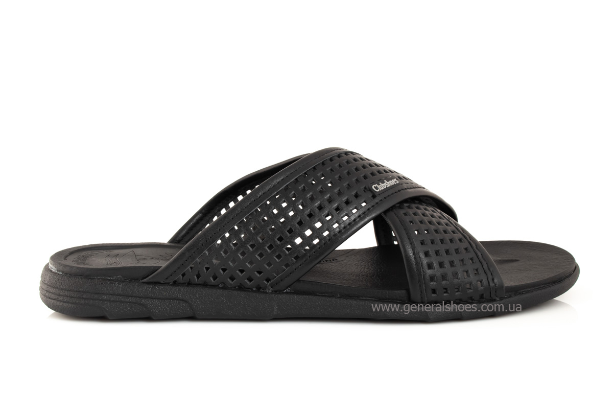 Мужские кожаные шлепанцы Clubshoes C50 черные фото 2