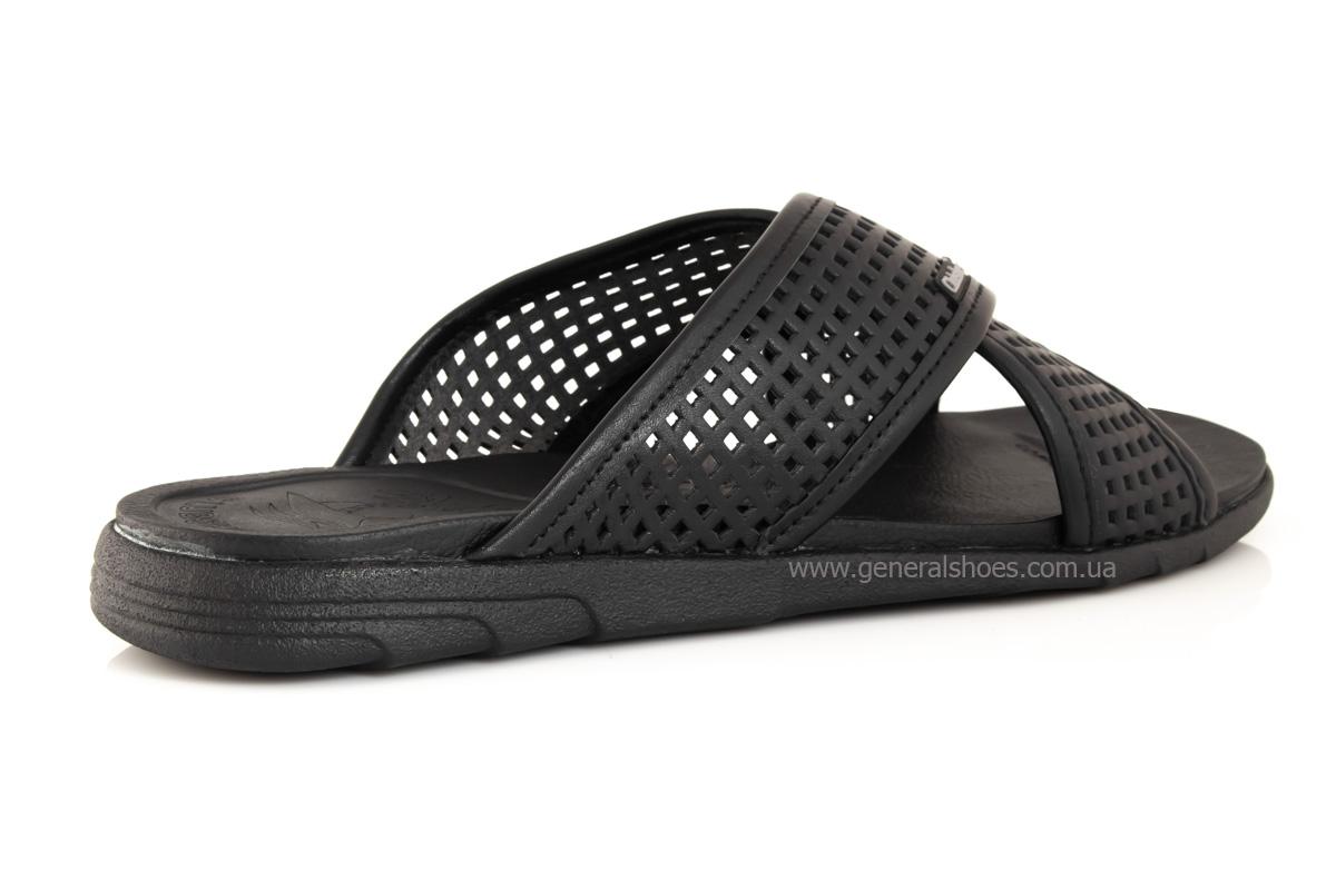 Мужские кожаные шлепанцы Clubshoes C50 черные фото 3