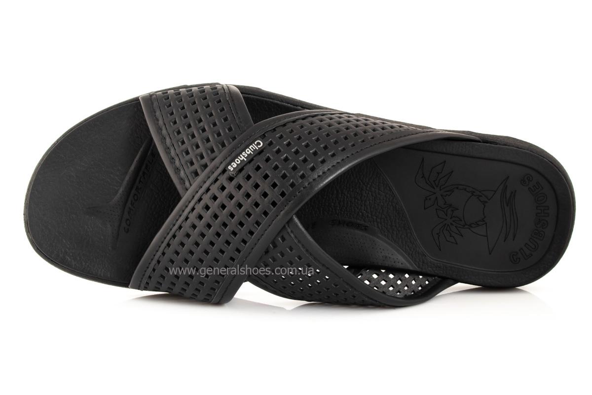 Мужские кожаные шлепанцы Clubshoes C50 черные фото 6