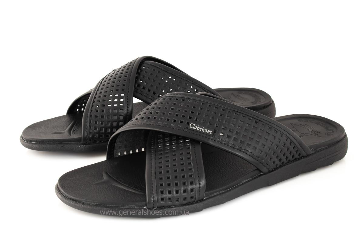 Мужские кожаные шлепанцы Clubshoes C50 черные фото 8