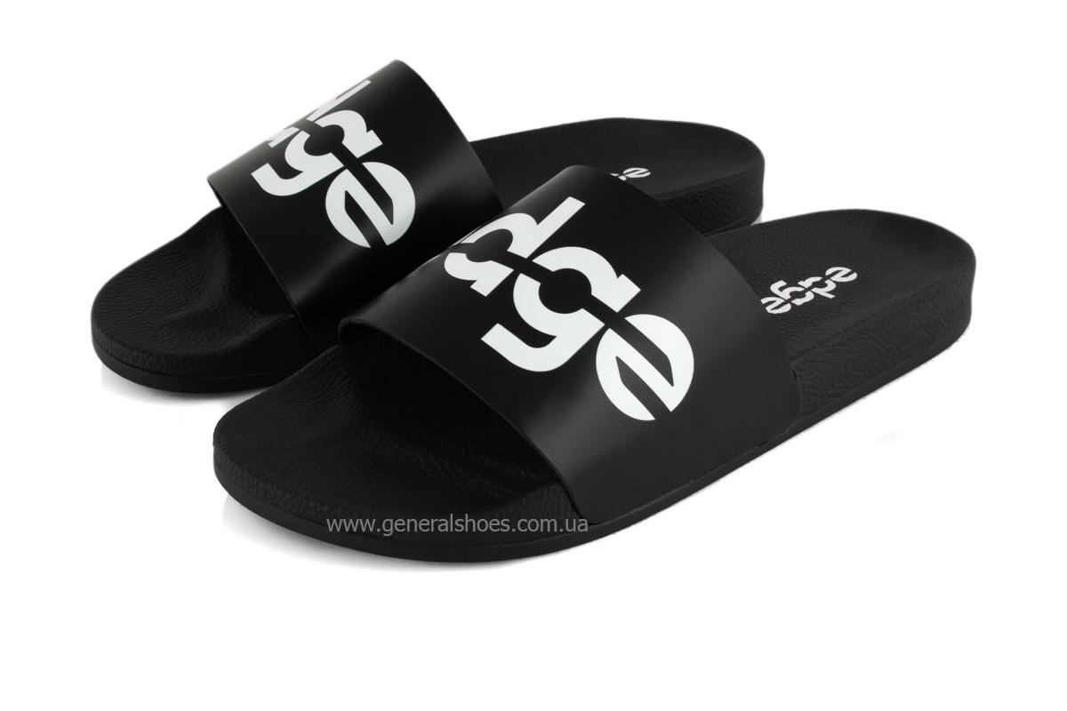 Мужские кожаные шлепанцы Ed-Ge F1 черные фото 1