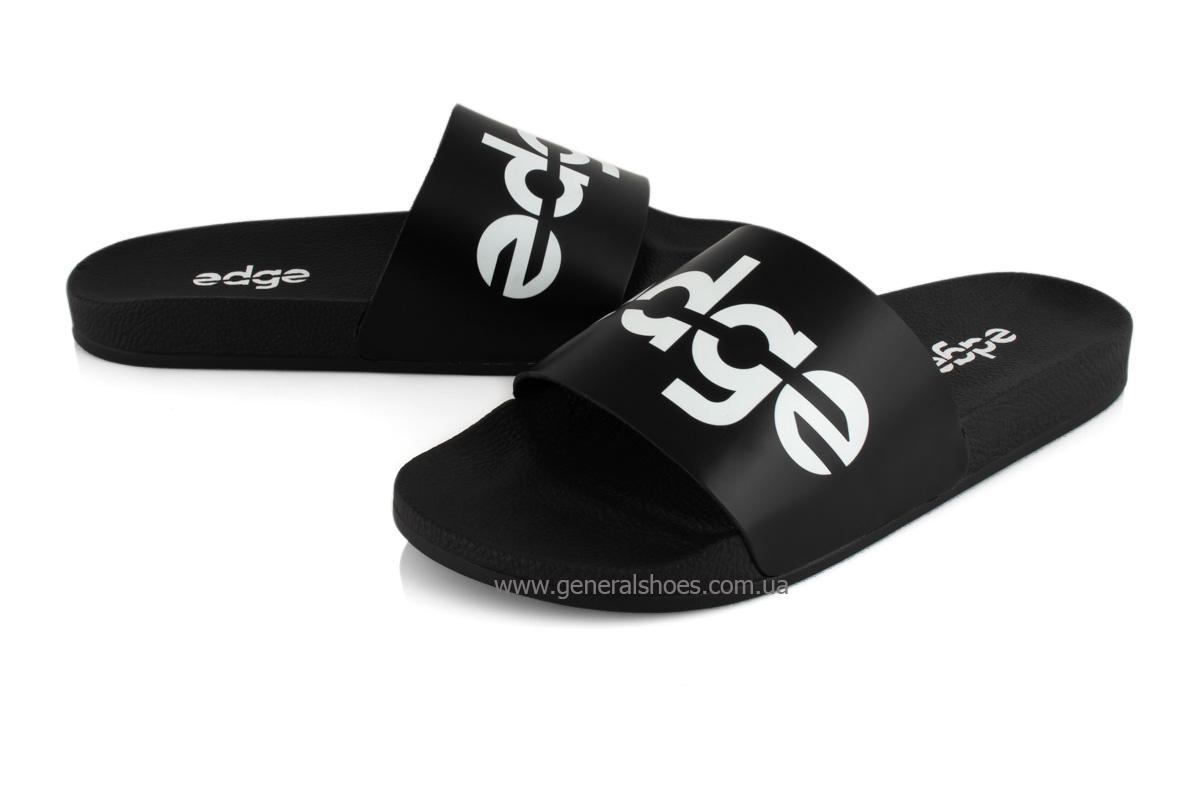 Мужские кожаные шлепанцы Ed-Ge F1 черные фото 2