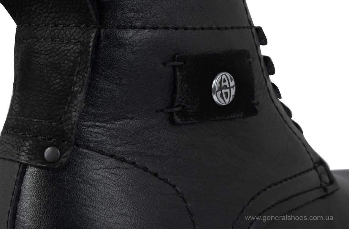 Мужские кожаные ботинки Falcon 7015 черные антискольжение фото 9