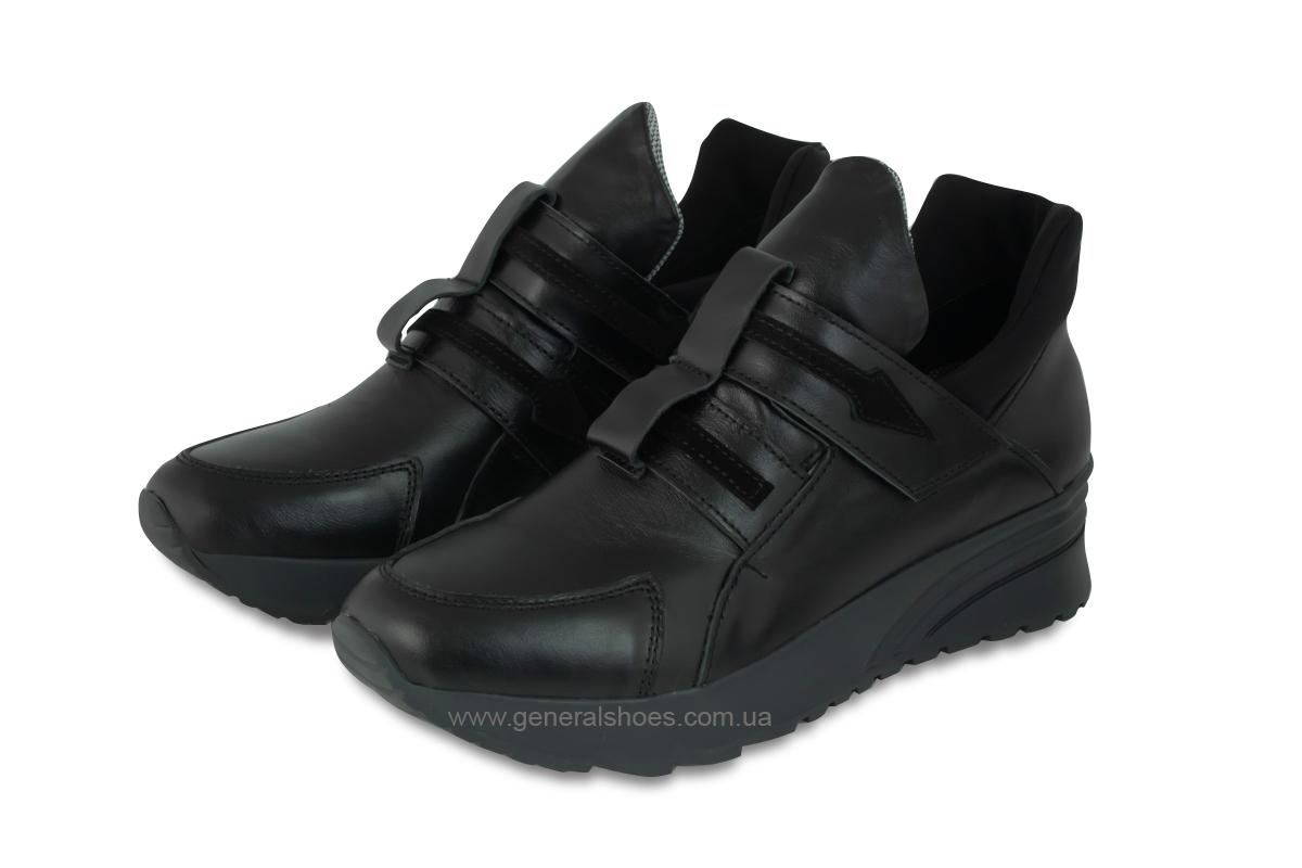 Женские кожаные кроссовки 205 черные фото 1