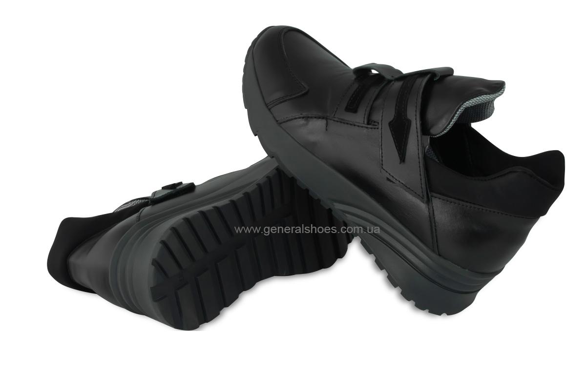 Женские кожаные кроссовки 205 черные фото 2