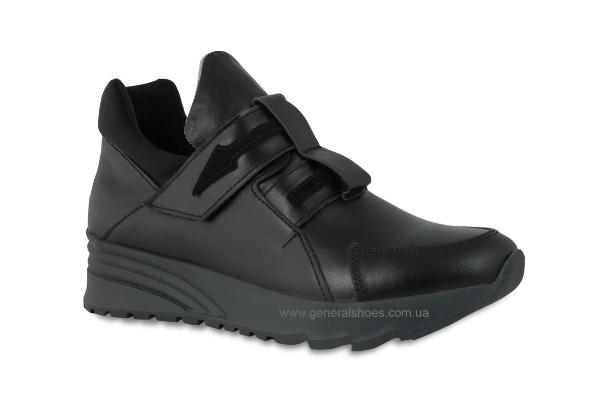 Женские кожаные кроссовки 205 черные фото 3