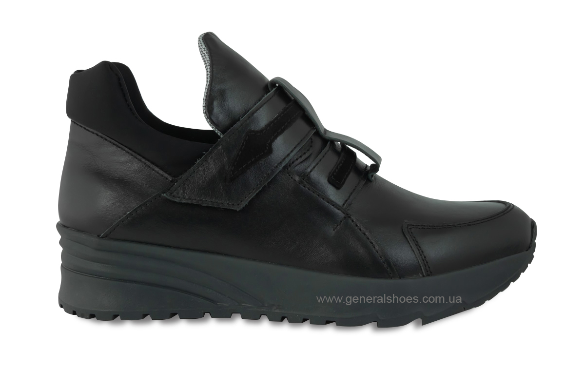 Женские кожаные кроссовки 205 черные фото 4