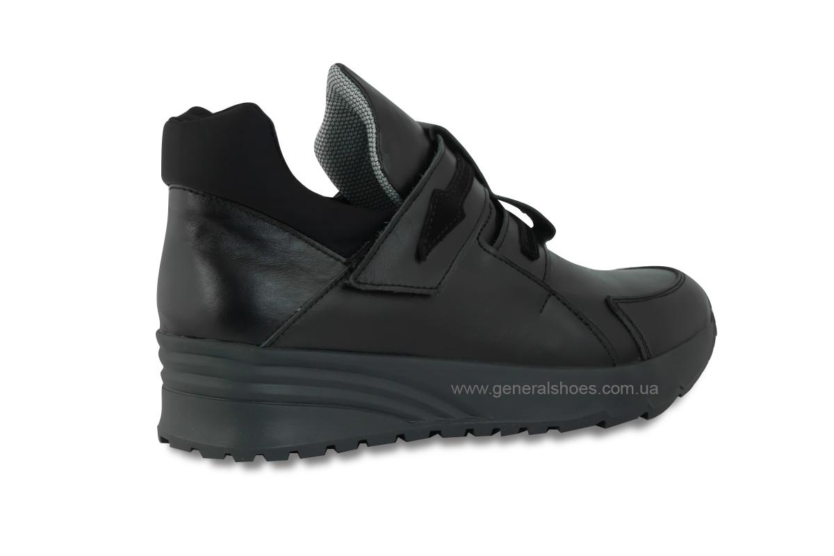 Женские кожаные кроссовки 205 черные фото 5