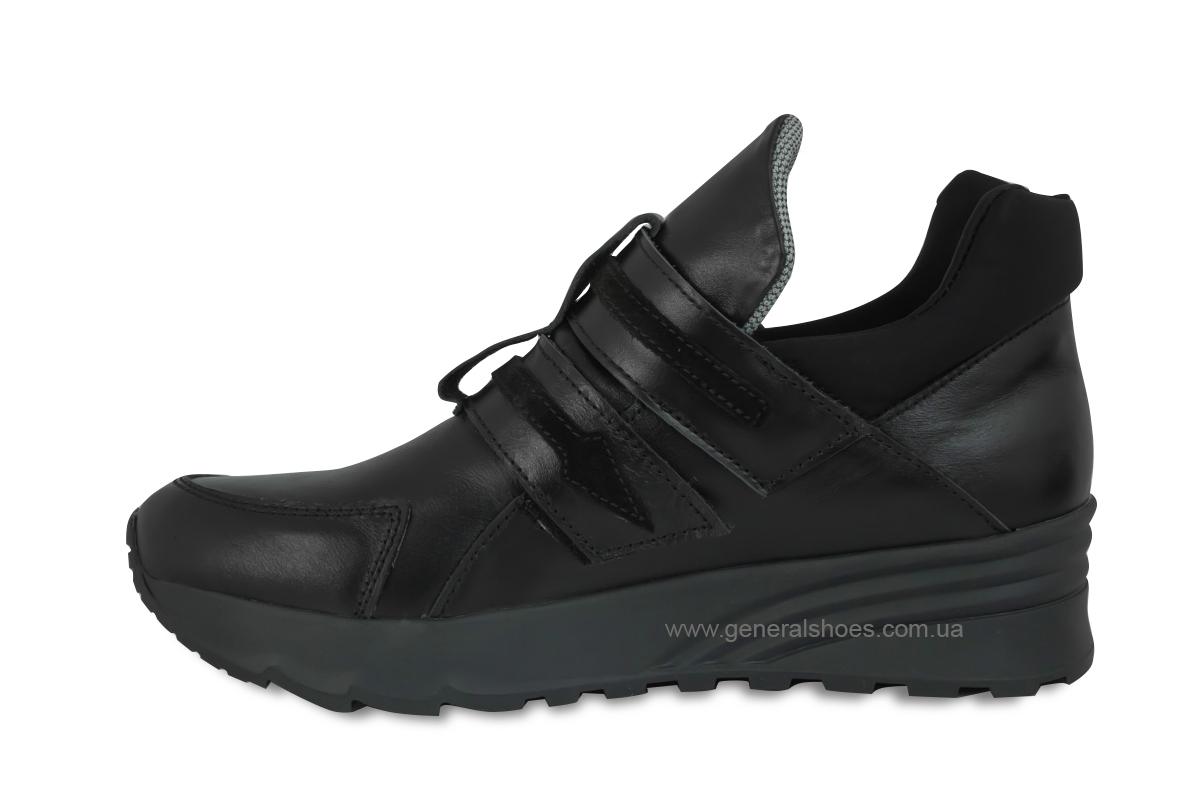 Женские кожаные кроссовки 205 черные фото 6
