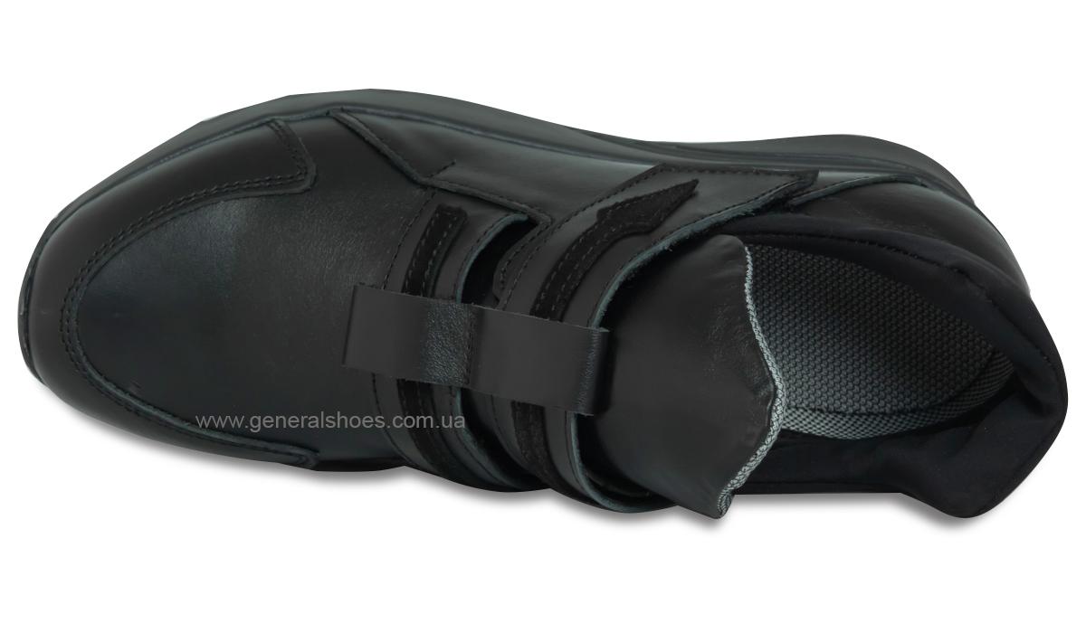 Женские кожаные кроссовки 205 черные фото 7