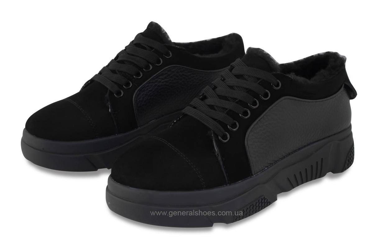 Зимние кожаные женские ботинки GL 521 черные фото 1
