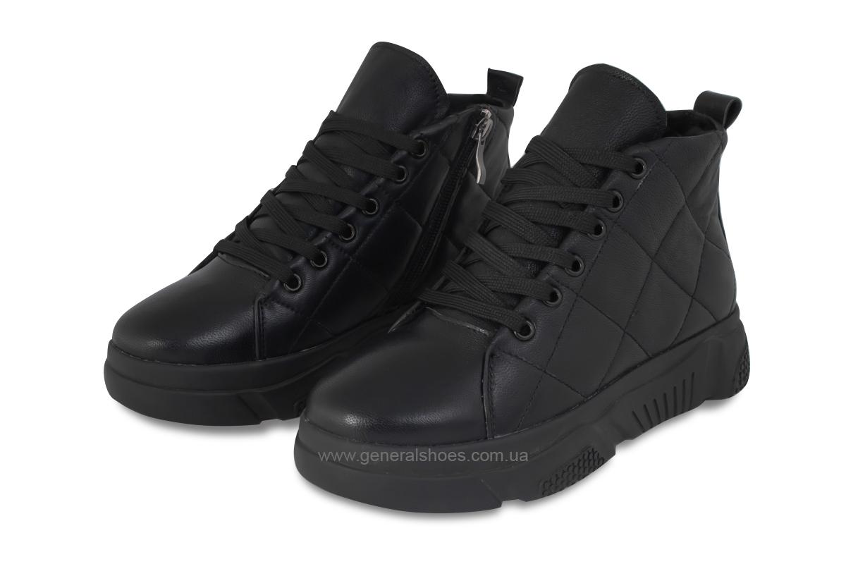 Зимние кожаные женские ботинки GL 527 черные фото 1