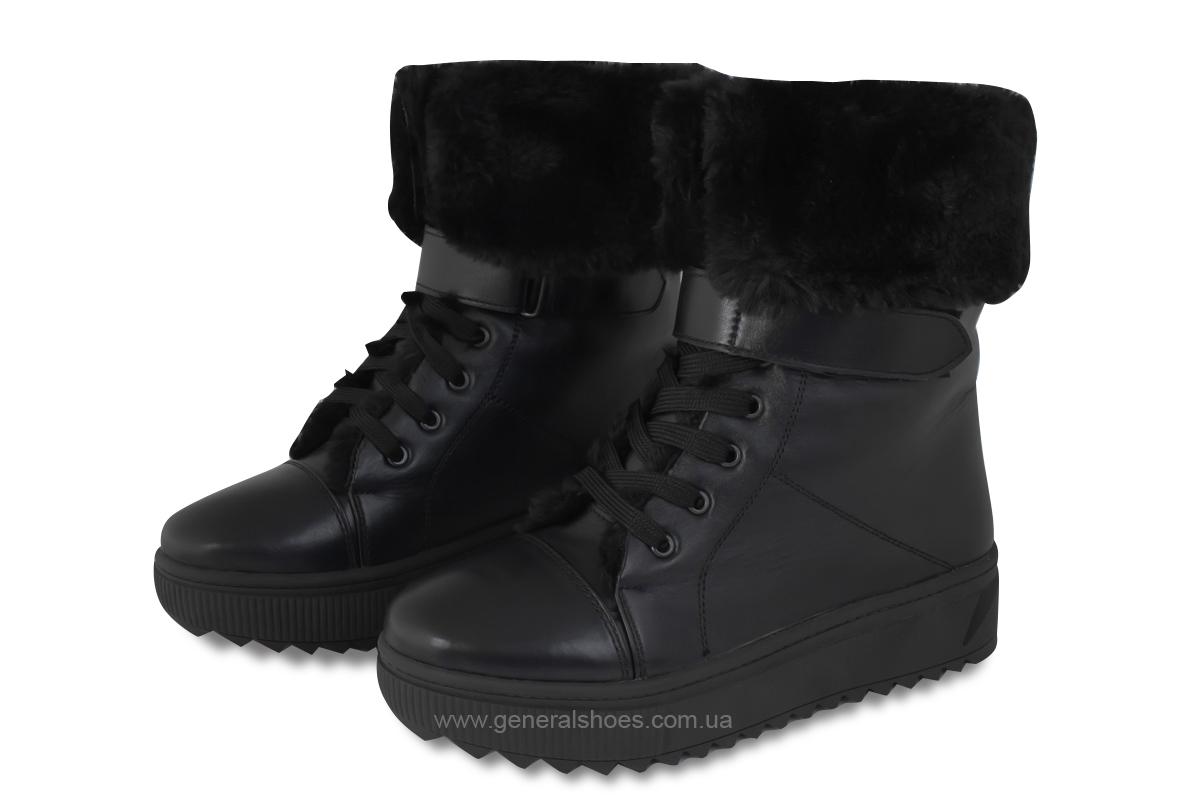 Зимние кожаные женские ботинки GL 529 черные фото 1