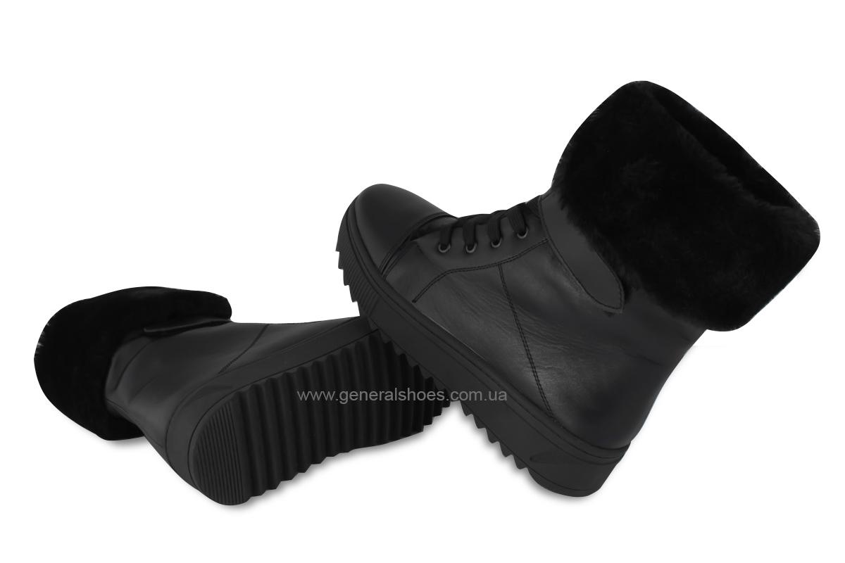 Зимние кожаные женские ботинки GL 529 черные фото 2