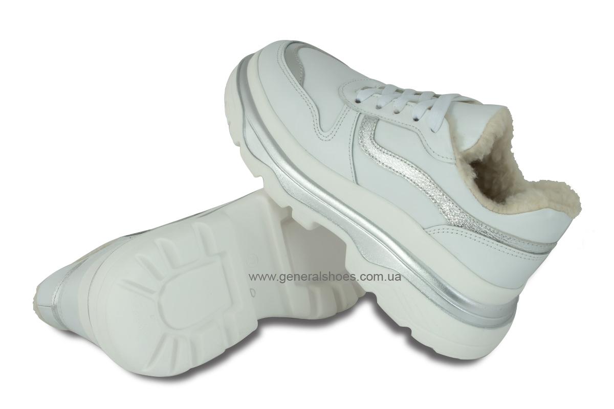 Зимние кожаные женские ботинки Луноходы 110 белые фото 2