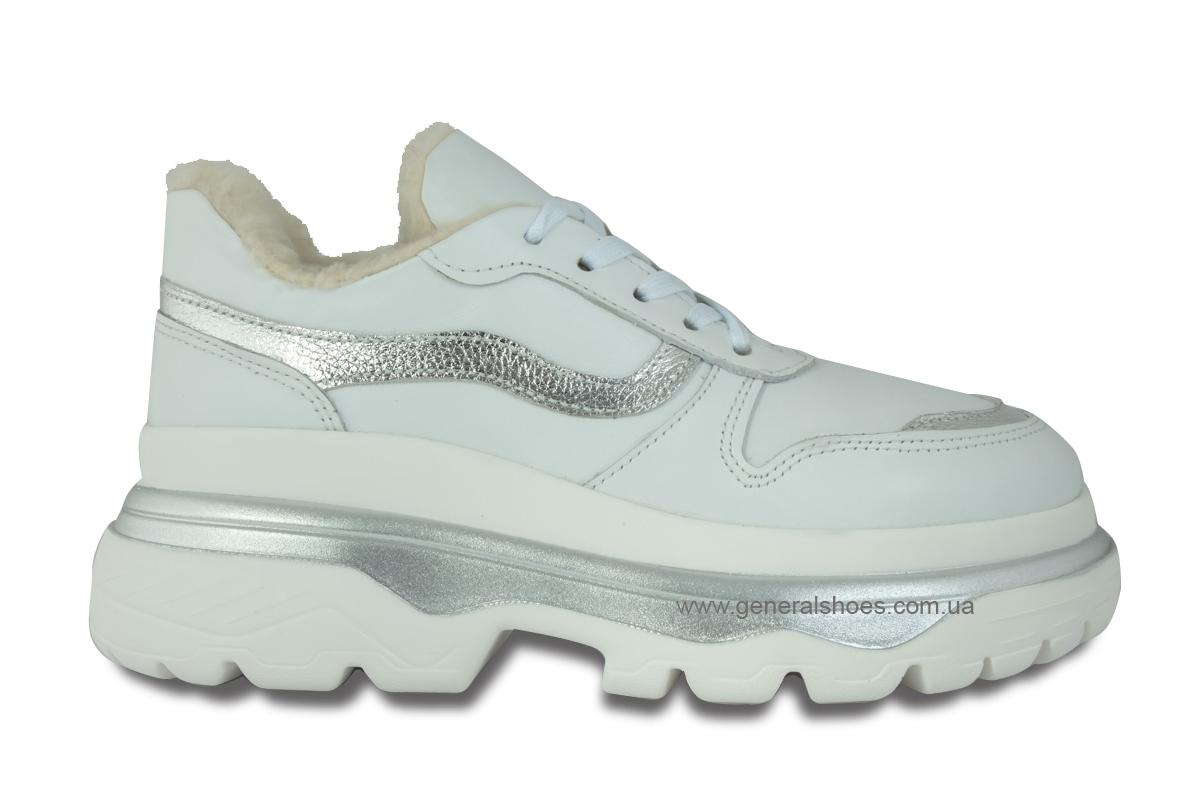 Зимние кожаные женские ботинки Луноходы 110 белые фото 4
