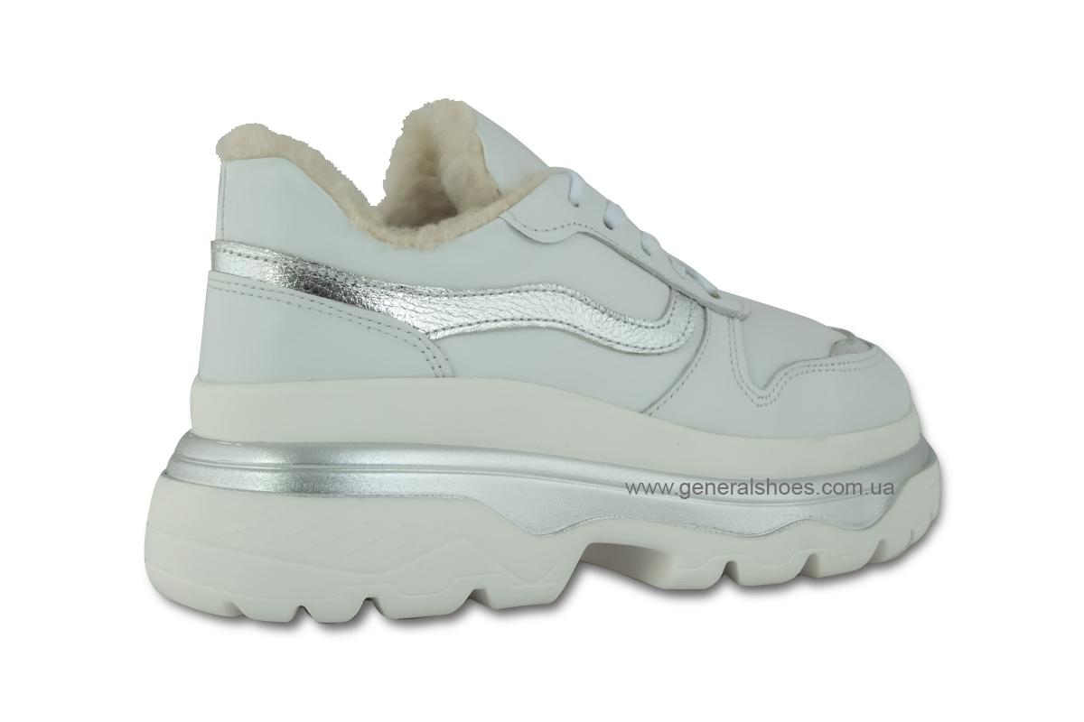 Зимние кожаные женские ботинки Луноходы 110 белые фото 5