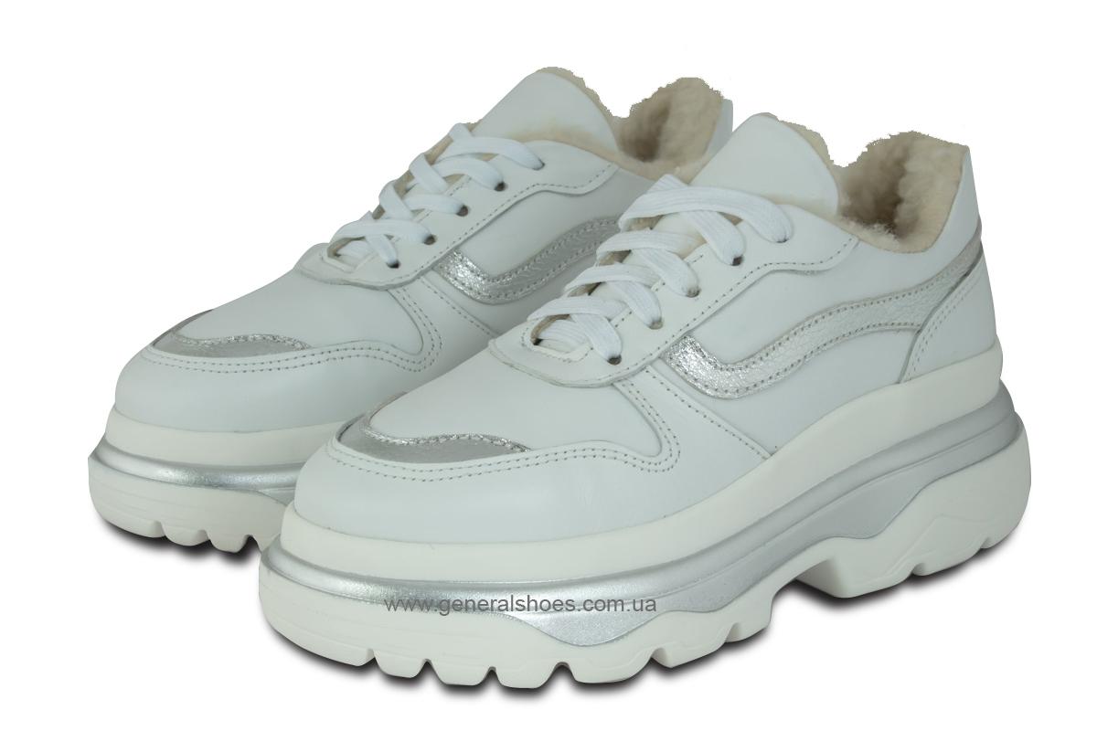Зимние кожаные женские ботинки Луноходы 110 белые фото 1