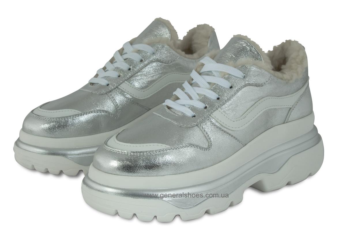Зимние кожаные женские ботинки Луноходы 110 серебро фото 1