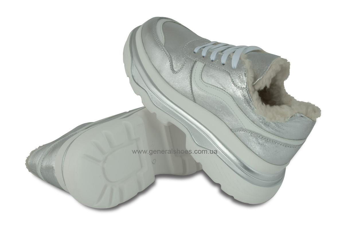 Зимние кожаные женские ботинки Луноходы 110 серебро фото 2
