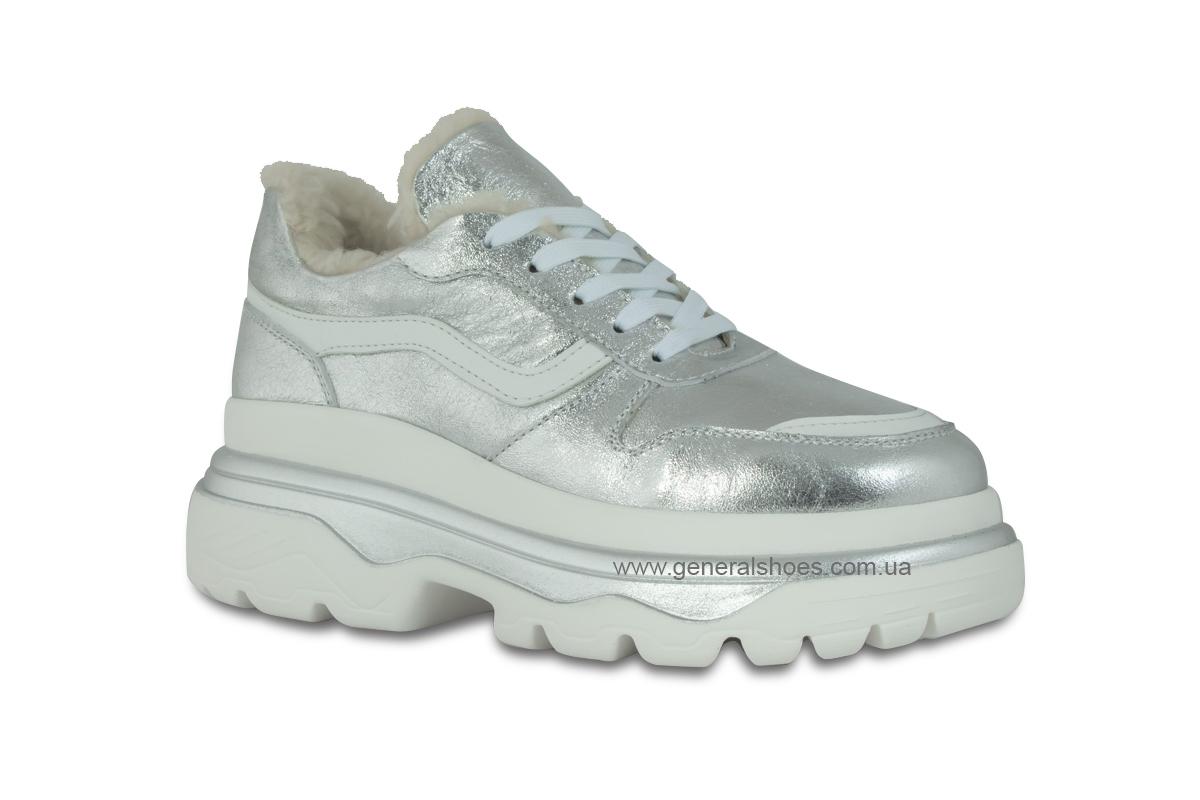 Зимние кожаные женские ботинки Луноходы 110 серебро фото 3