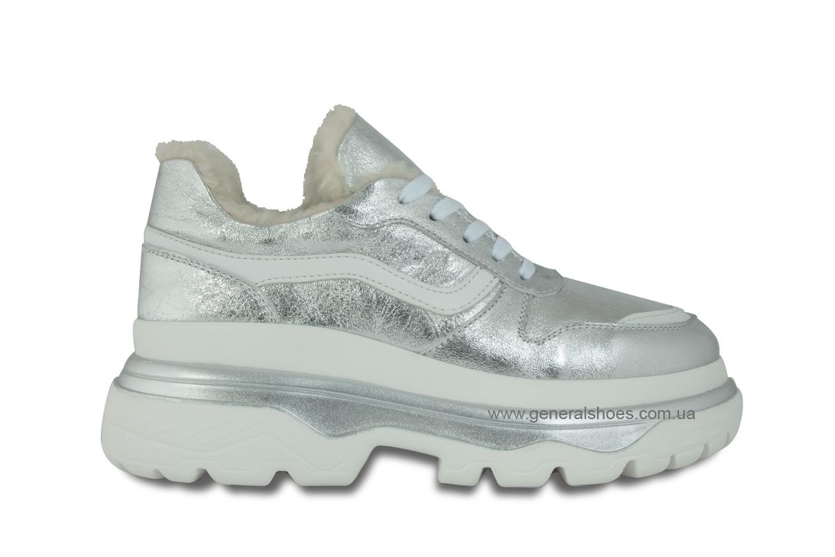Зимние кожаные женские ботинки Луноходы 110 серебро фото 4