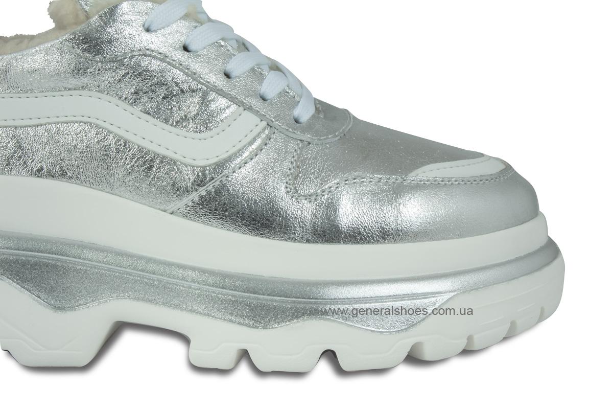 Зимние кожаные женские ботинки Луноходы 110 серебро фото 5