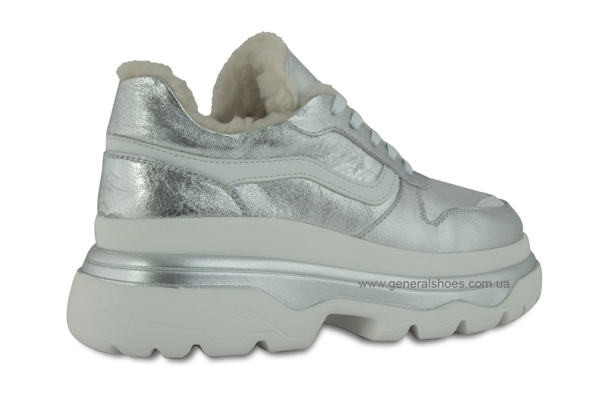 Зимние кожаные женские ботинки Луноходы 110 серебро фото 6