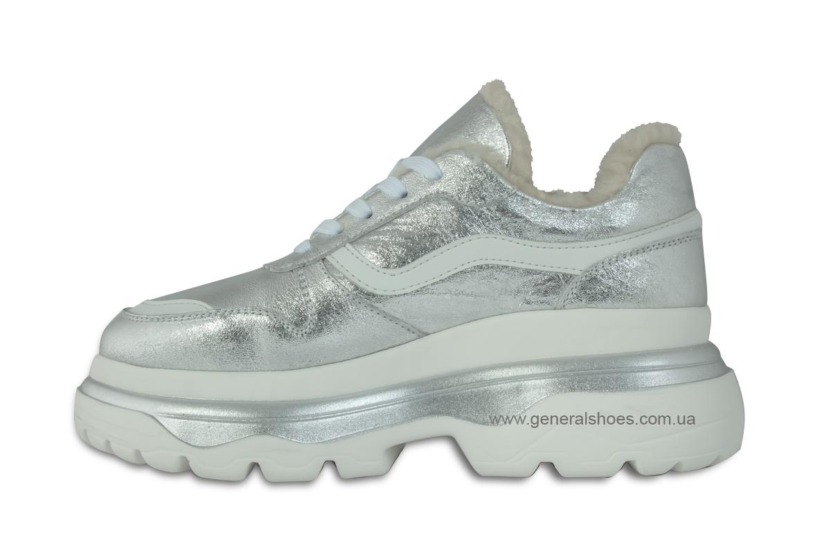 Зимние кожаные женские ботинки Луноходы 110 серебро фото 7