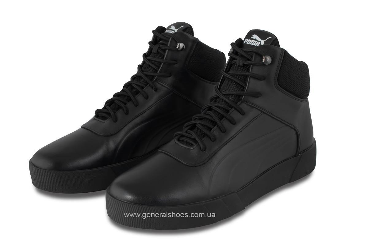 Зимние мужские кожаные ботинки 488 черные фото 1