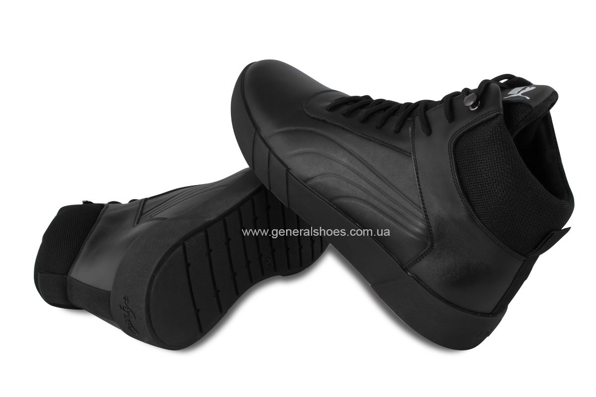 Зимние мужские кожаные ботинки 488 черные фото 2