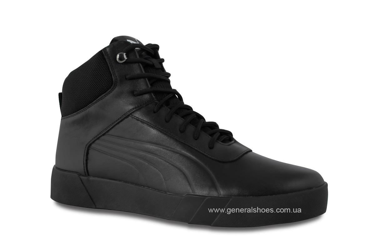Зимние мужские кожаные ботинки 488 черные фото 3