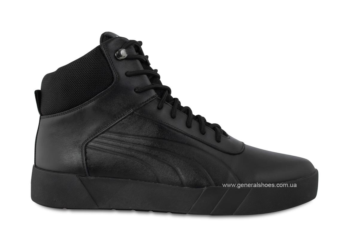 Зимние мужские кожаные ботинки 488 черные фото 4