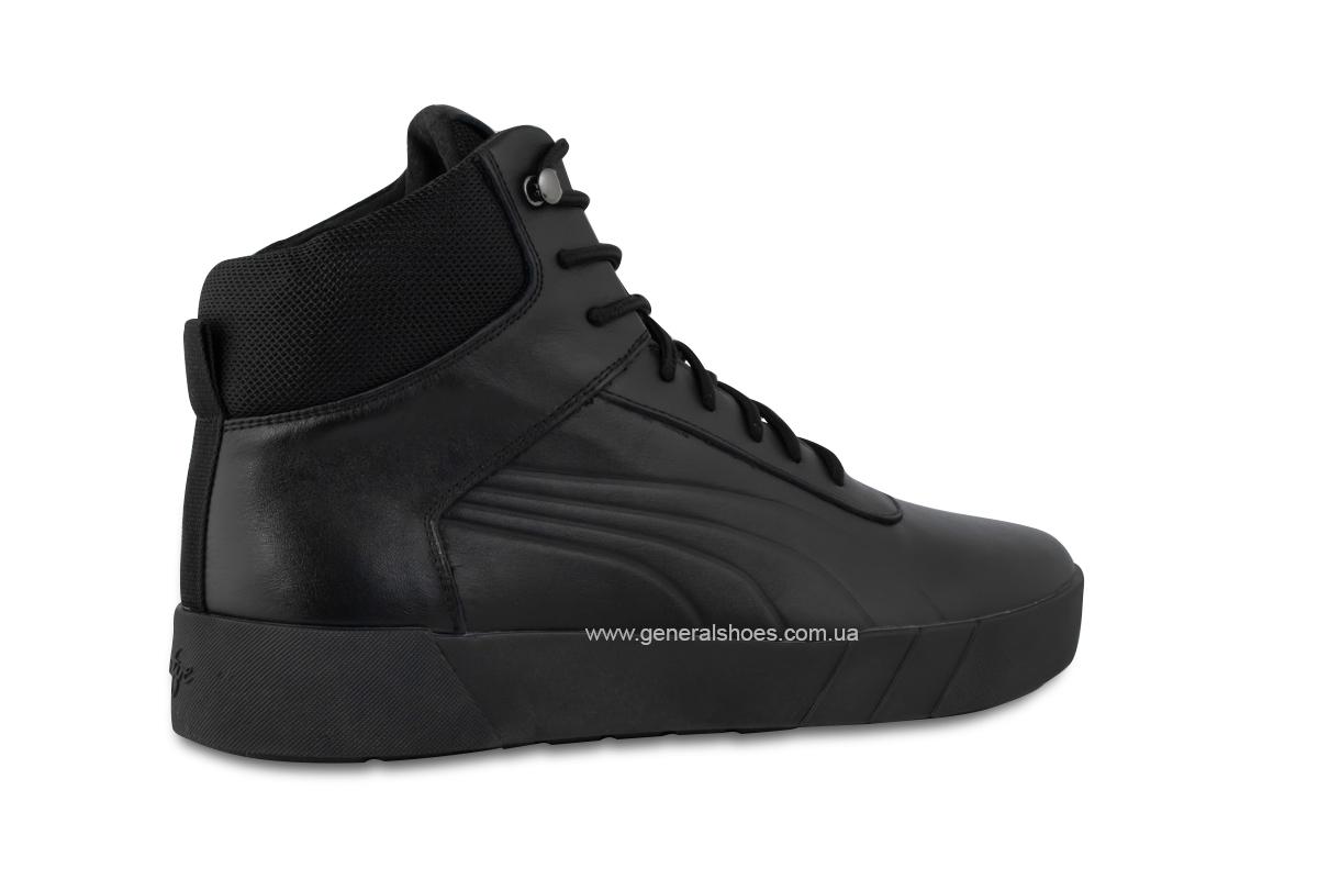 Зимние мужские кожаные ботинки 488 черные фото 5