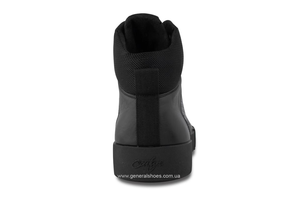 Зимние мужские кожаные ботинки 488 черные фото 6