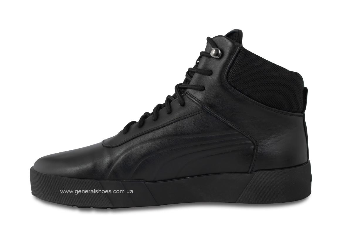 Зимние мужские кожаные ботинки 488 черные фото 7