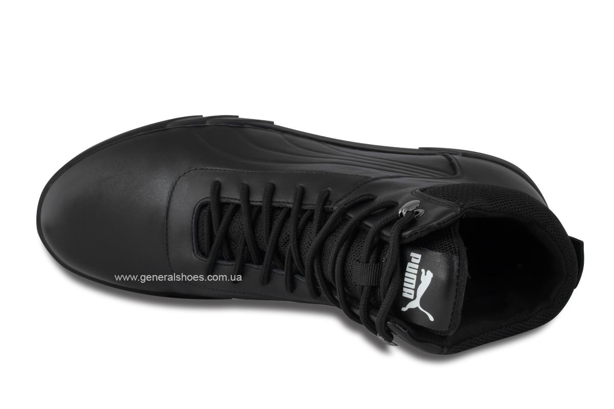 Зимние мужские кожаные ботинки 488 черные фото 8
