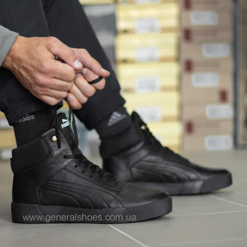 Зимние мужские кожаные ботинки 488 черные