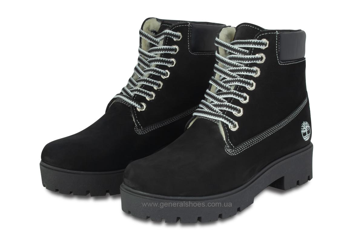 Зимние женские ботинки 07 нубук черные фото 1