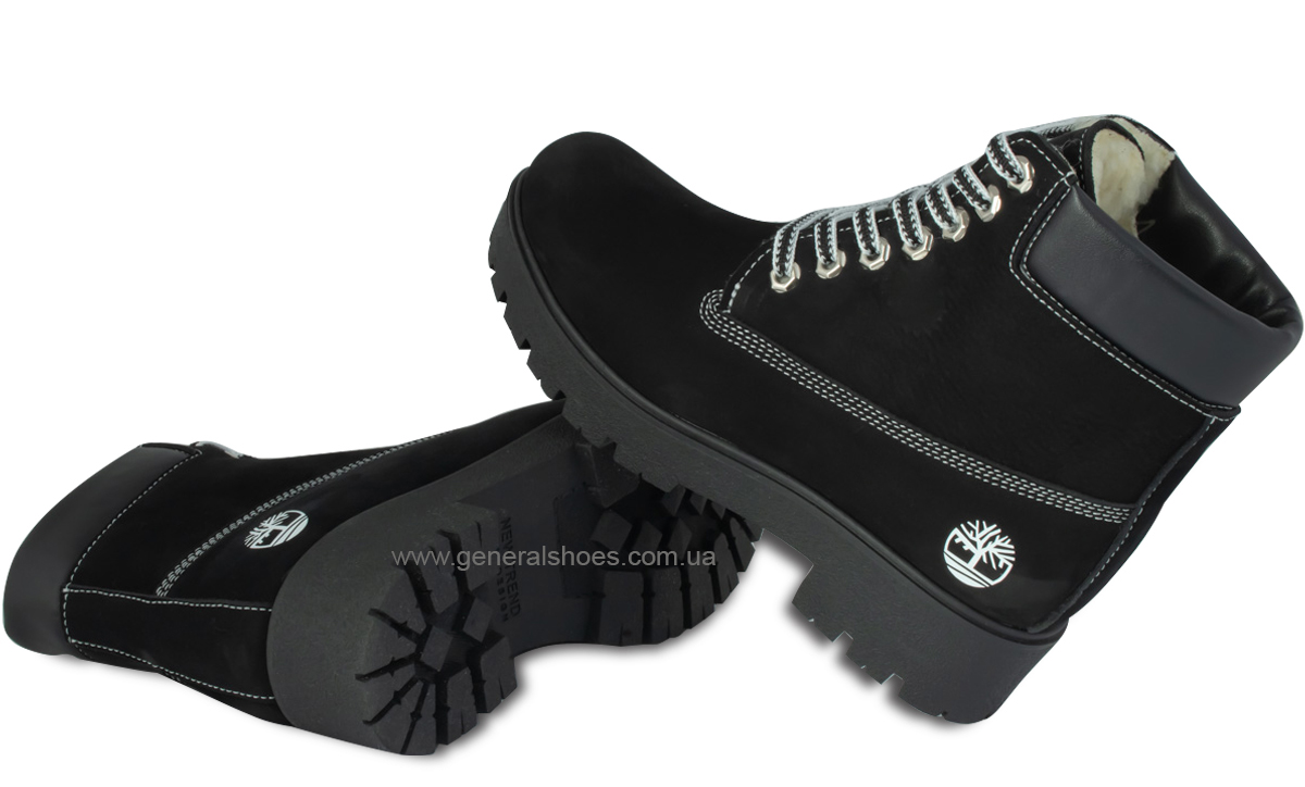 Зимние женские ботинки 07 нубук черные фото 2