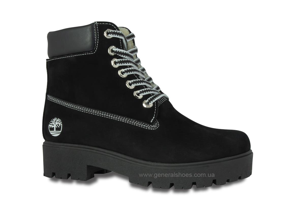 Зимние женские ботинки 07 нубук черные фото 3