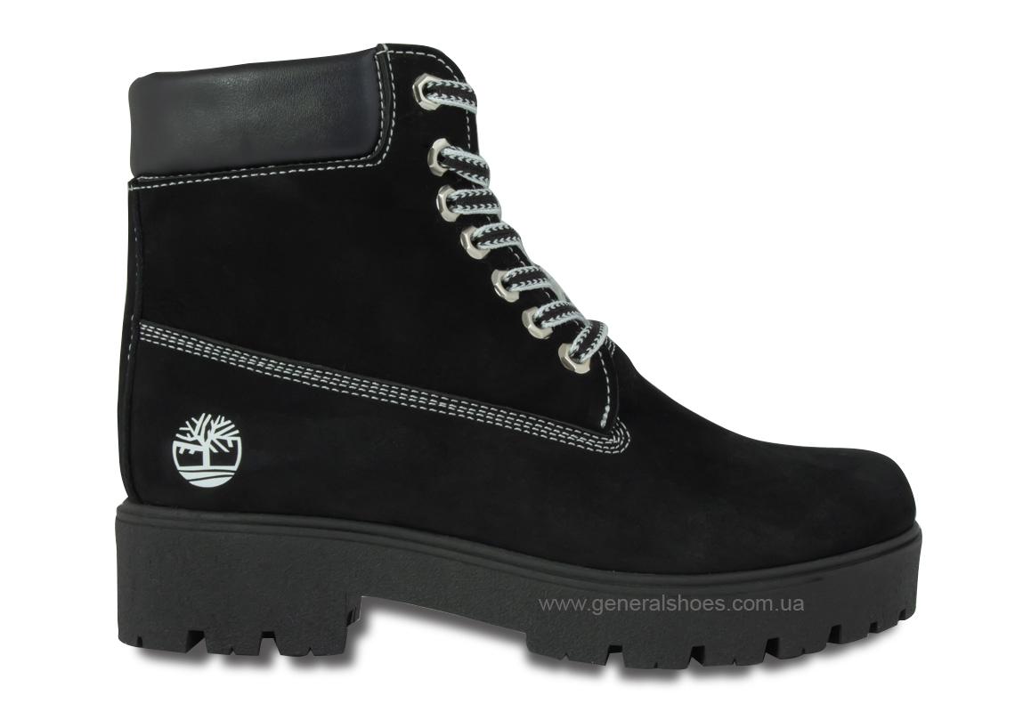 Зимние женские ботинки 07 нубук черные фото 4