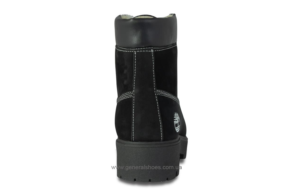 Зимние женские ботинки 07 нубук черные фото 6